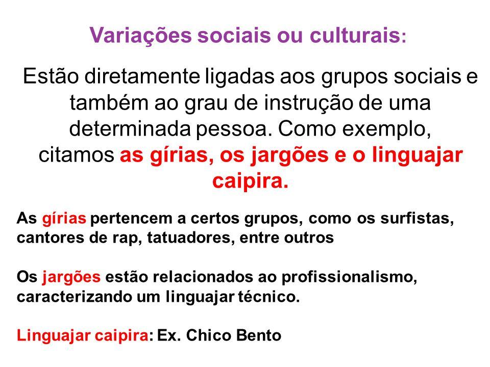 Variações sociais ou culturais : Estão diretamente ligadas aos grupos sociais e também ao grau de instrução de uma determinada pessoa. Como exemplo, c