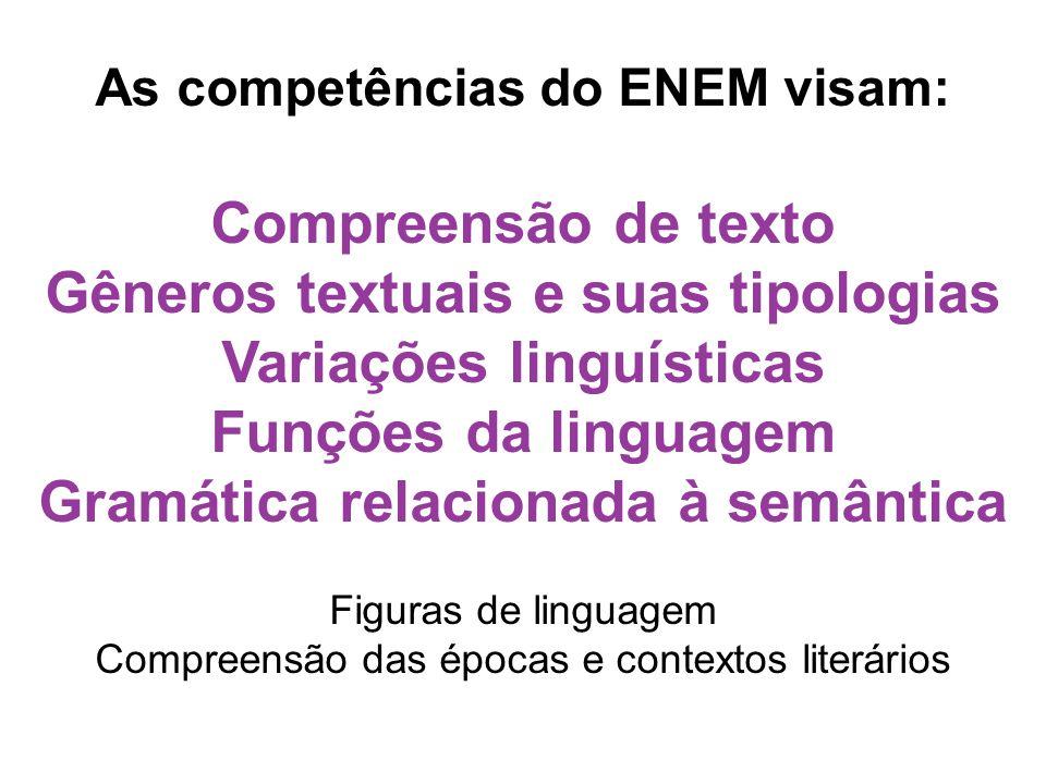 As competências do ENEM visam: Compreensão de texto Gêneros textuais e suas tipologias Variações linguísticas Funções da linguagem Gramática relaciona