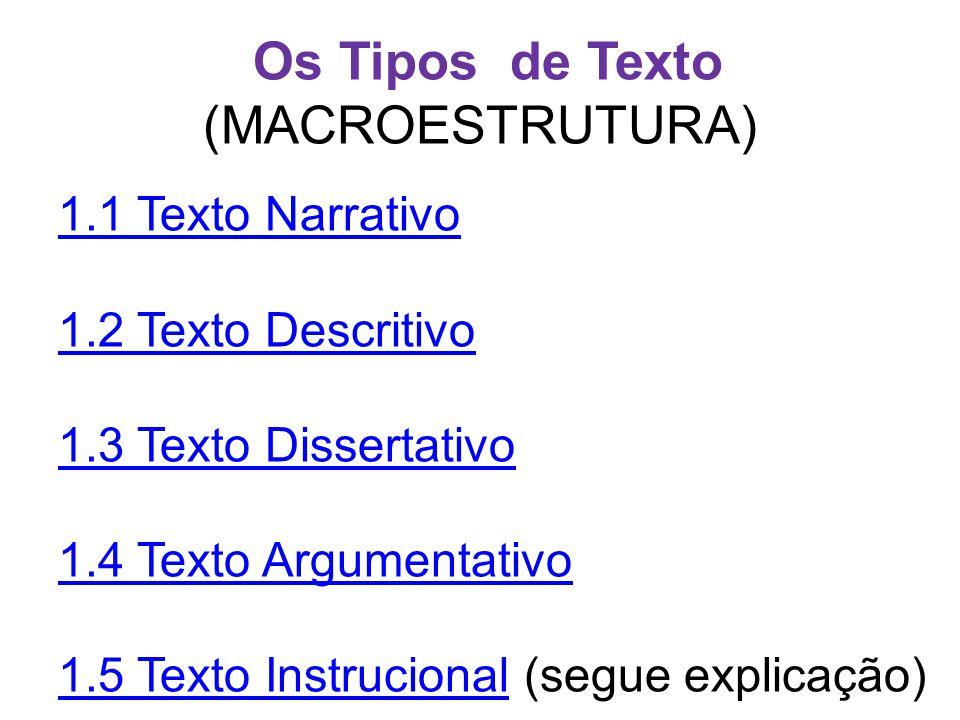 Os Tipos de Texto (MACROESTRUTURA) 1.1 Texto Narrativo 1.2 Texto Descritivo 1.3 Texto Dissertativo 1.4 Texto Argumentativo 1.5 Texto Instrucional1.5 T