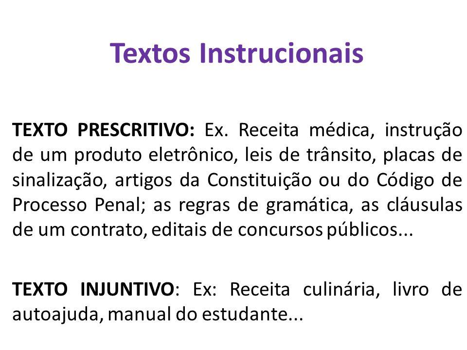 Textos Instrucionais TEXTO PRESCRITIVO: Ex. Receita médica, instrução de um produto eletrônico, leis de trânsito, placas de sinalização, artigos da Co