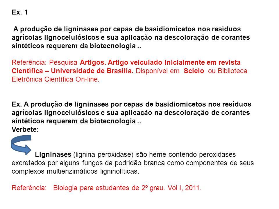 Ex. 1 A produção de ligninases por cepas de basidiomicetos nos resíduos agrícolas lignocelulósicos e sua aplicação na descoloração de corantes sintéti