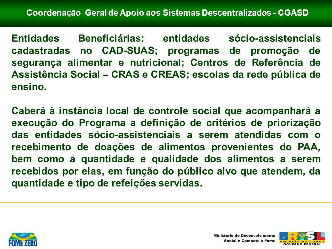 Coordenação Geral de Apoio aos Sistemas Descentralizados - CGASD Entidades Beneficiárias: entidades sócio-assistenciais cadastradas no CAD-SUAS; progr