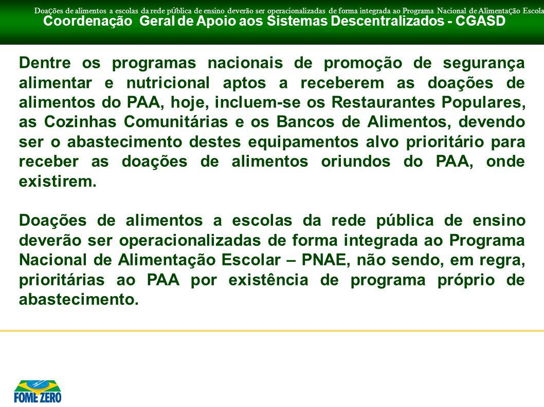 Coordenação Geral de Apoio aos Sistemas Descentralizados - CGASD Dentre os programas nacionais de promoção de segurança alimentar e nutricional aptos