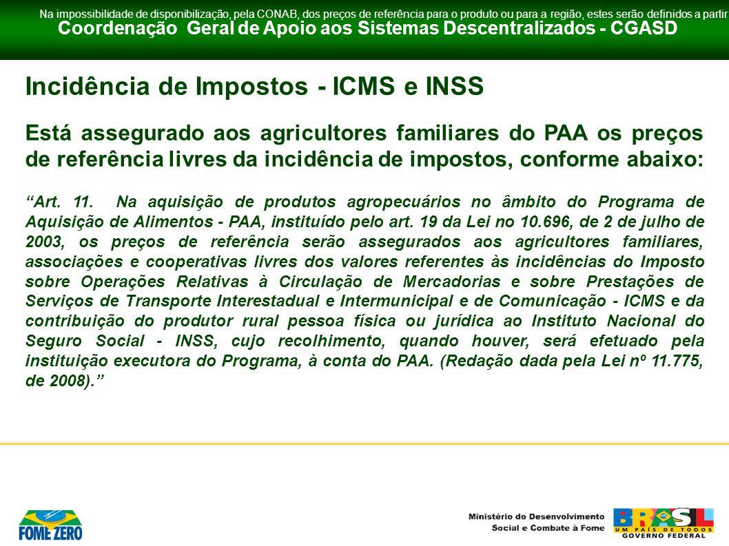 Coordenação Geral de Apoio aos Sistemas Descentralizados - CGASD Incidência de Impostos - ICMS e INSS Está assegurado aos agricultores familiares do P