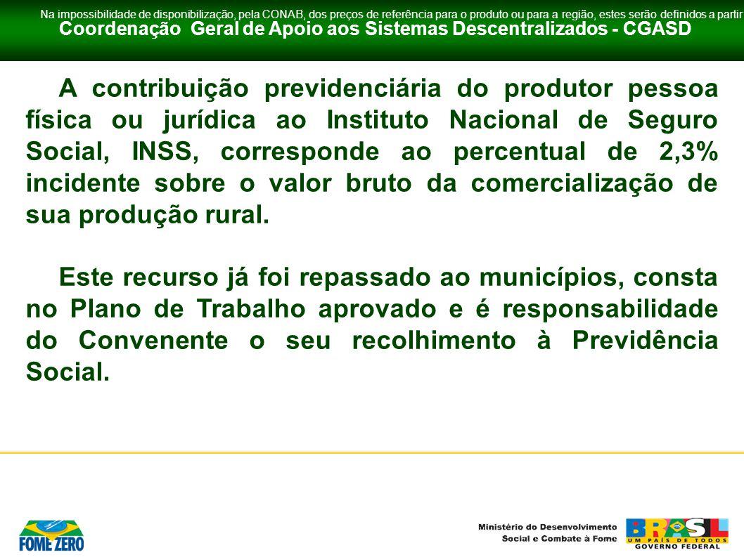 Coordenação Geral de Apoio aos Sistemas Descentralizados - CGASD A contribuição previdenciária do produtor pessoa física ou jurídica ao Instituto Naci