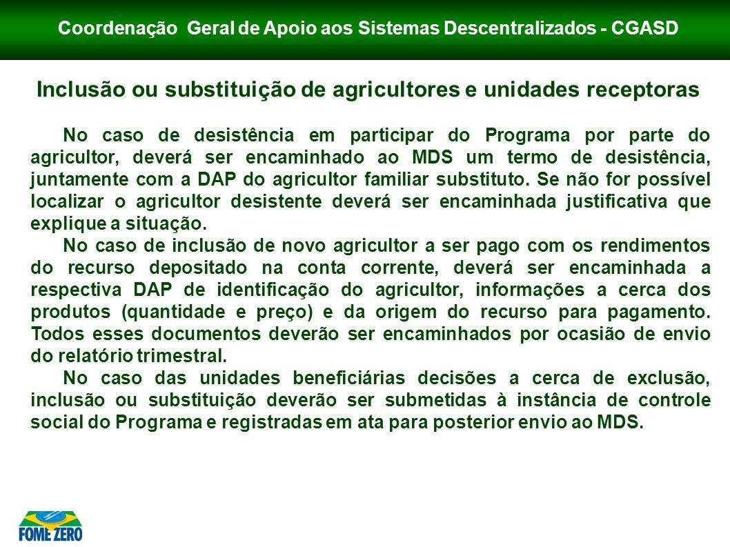 Coordenação Geral de Apoio aos Sistemas Descentralizados - CGASD Inclusão ou substituição de agricultores e unidades receptoras No caso de desistência