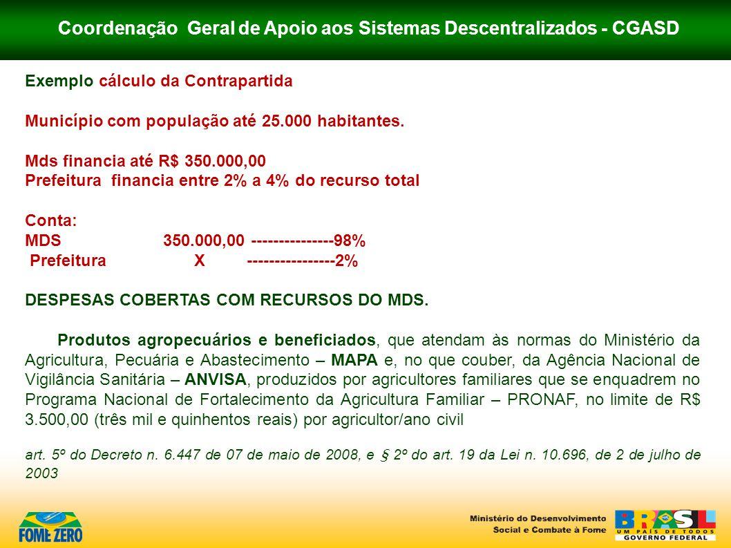 Coordenação Geral de Apoio aos Sistemas Descentralizados - CGASD Exemplo cálculo da Contrapartida Município com população até 25.000 habitantes. Mds f