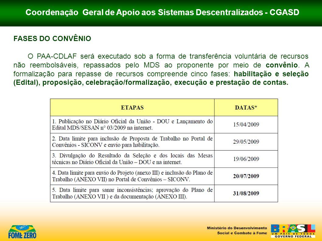 Coordenação Geral de Apoio aos Sistemas Descentralizados - CGASD FASES DO CONVÊNIO O PAA-CDLAF será executado sob a forma de transferência voluntária