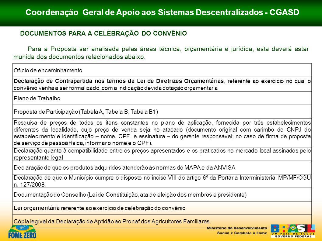 Coordenação Geral de Apoio aos Sistemas Descentralizados - CGASD DOCUMENTOS PARA A CELEBRAÇÃO DO CONVÊNIO Para a Proposta ser analisada pelas áreas té