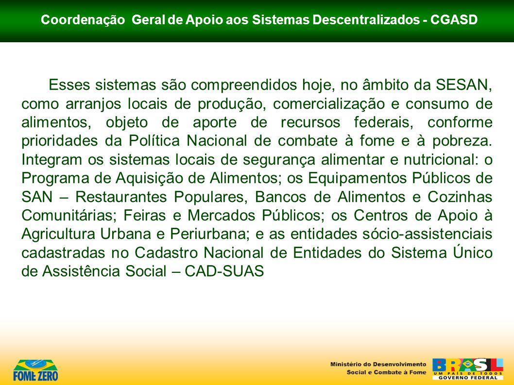 Coordenação Geral de Apoio aos Sistemas Descentralizados - CGASD NOTAS IMPORTANTES O MDS não enviará aviso de recebimento da proposição.