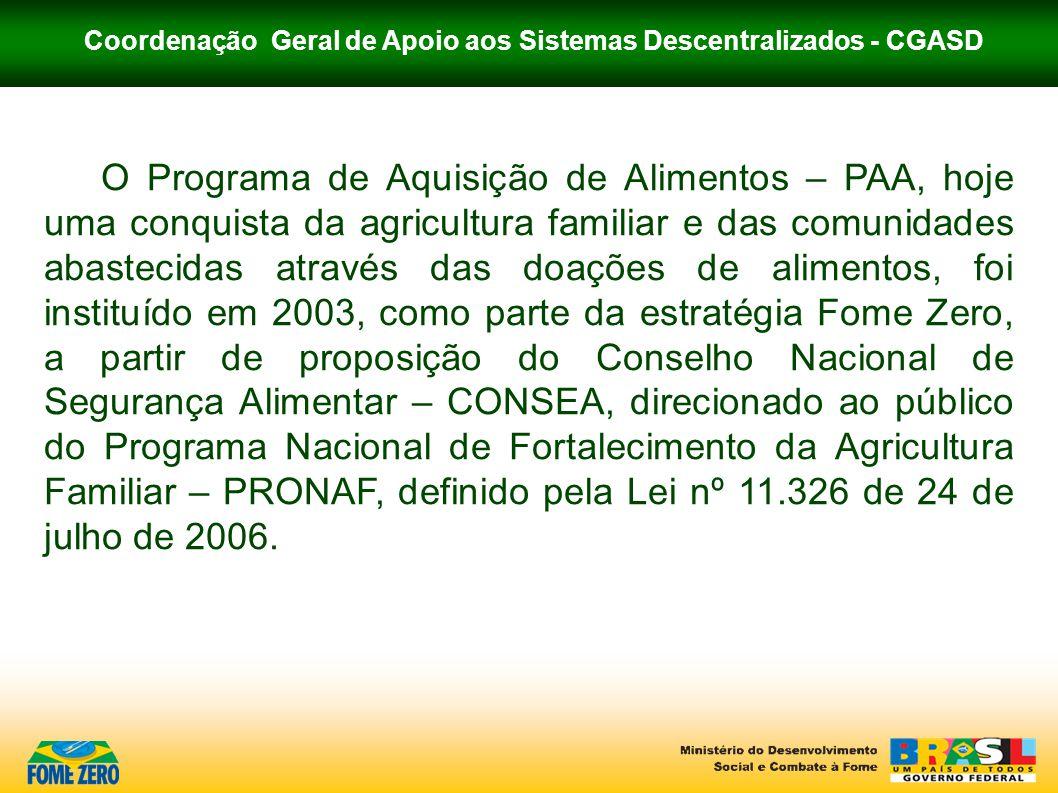 Coordenação Geral de Apoio aos Sistemas Descentralizados - CGASD O Programa de Aquisição de Alimentos – PAA, hoje uma conquista da agricultura familia