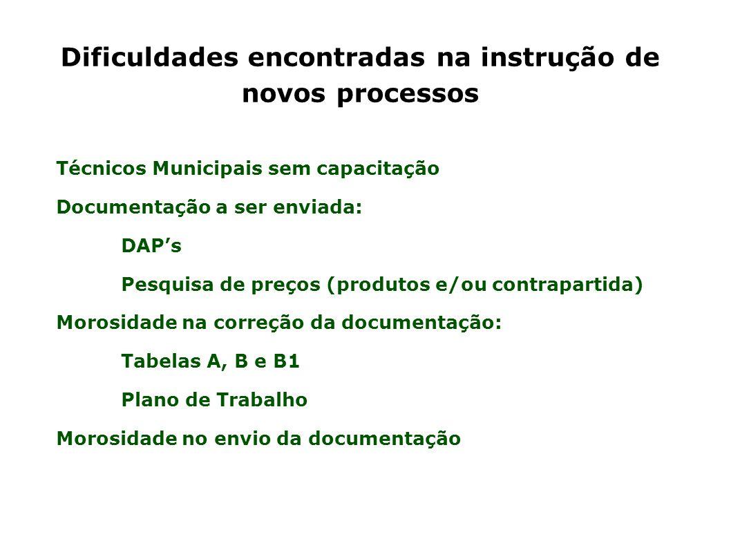 Dificuldades encontradas na instrução de novos processos Técnicos Municipais sem capacitação Documentação a ser enviada: DAP's Pesquisa de preços (pro