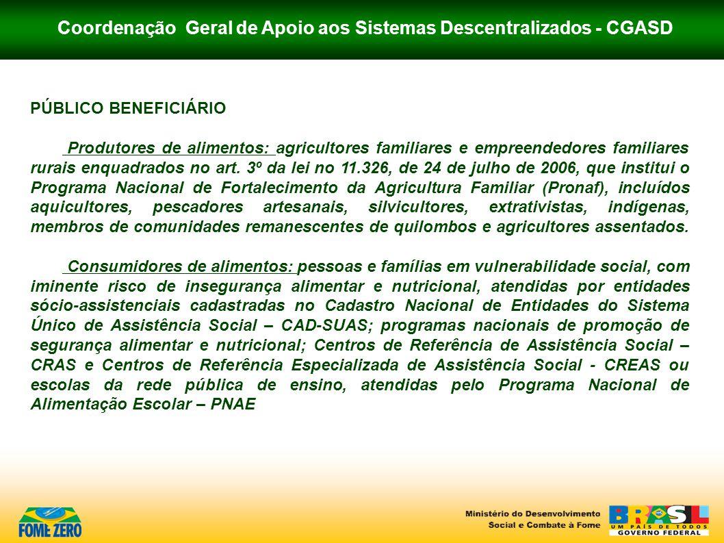 Coordenação Geral de Apoio aos Sistemas Descentralizados - CGASD PÚBLICO BENEFICIÁRIO Produtores de alimentos: agricultores familiares e empreendedore
