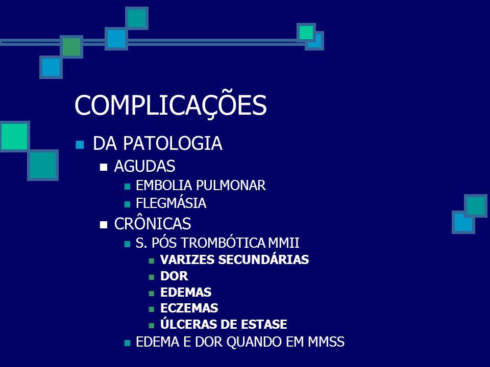 COMPLICAÇÕES  DA PATOLOGIA  AGUDAS  EMBOLIA PULMONAR  FLEGMÁSIA  CRÔNICAS  S. PÓS TROMBÓTICA MMII  VARIZES SECUNDÁRIAS  DOR  EDEMAS  ECZEMAS