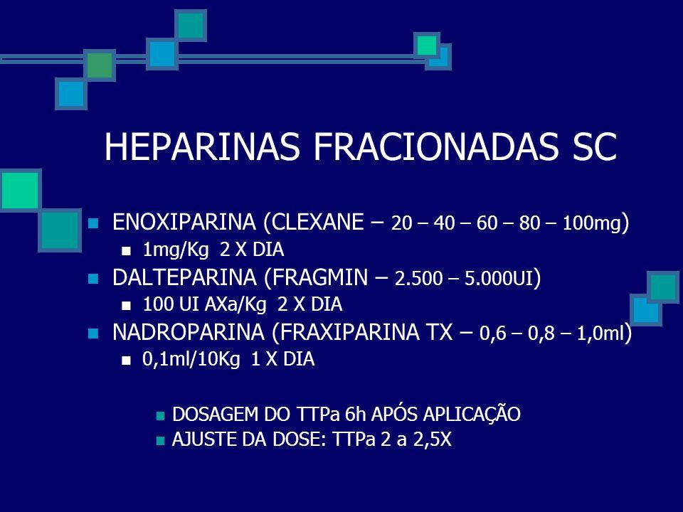HEPARINAS FRACIONADAS SC  ENOXIPARINA (CLEXANE – 20 – 40 – 60 – 80 – 100mg )  1mg/Kg 2 X DIA  DALTEPARINA (FRAGMIN – 2.500 – 5.000UI )  100 UI AXa