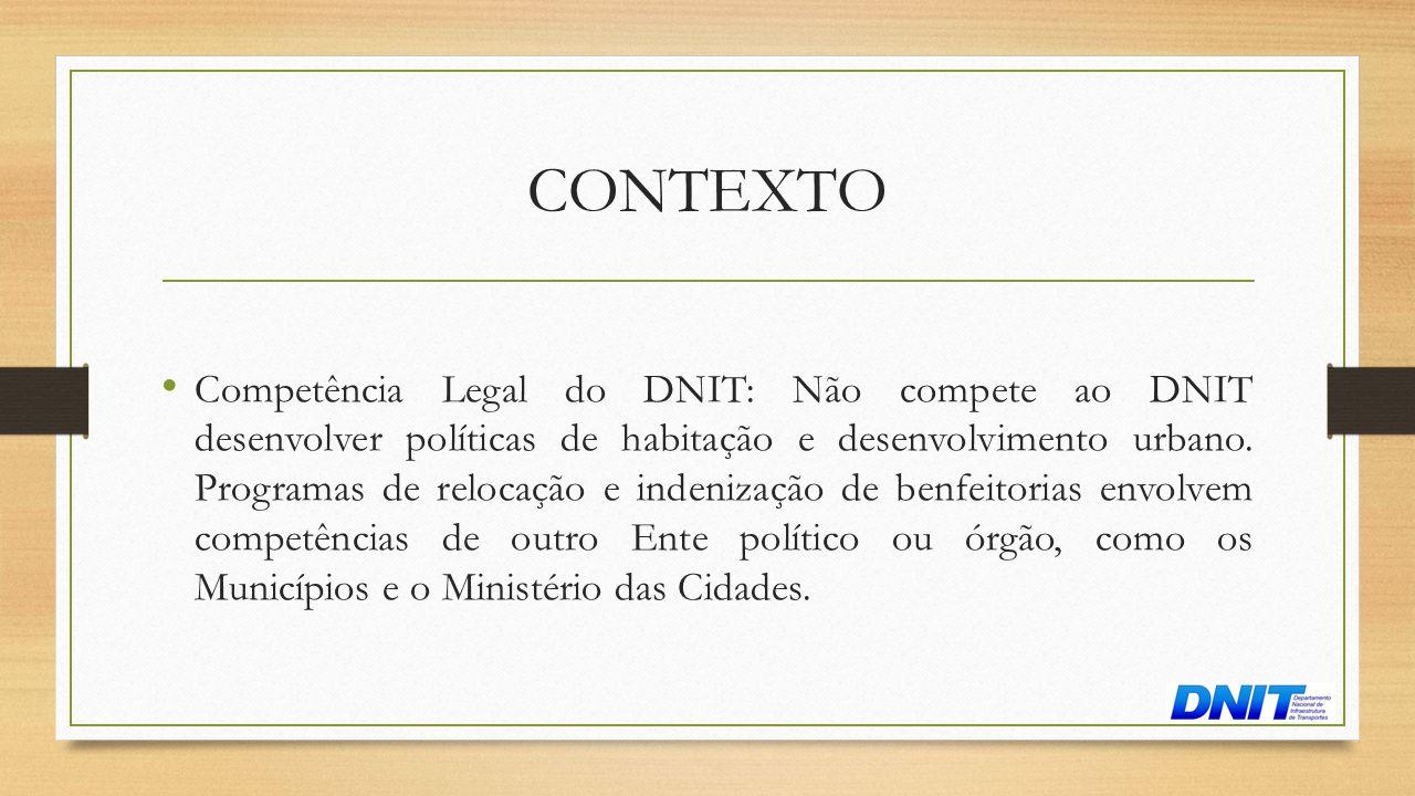 CONTEXTO • Competência Legal do DNIT: Não compete ao DNIT desenvolver políticas de habitação e desenvolvimento urbano. Programas de relocação e indeni
