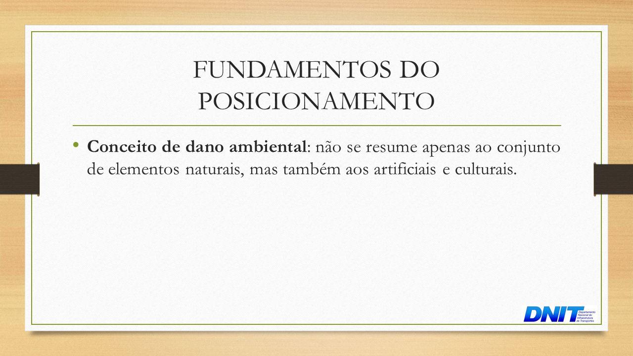 FUNDAMENTOS DO POSICIONAMENTO • Conceito de dano ambiental: não se resume apenas ao conjunto de elementos naturais, mas também aos artificiais e cultu