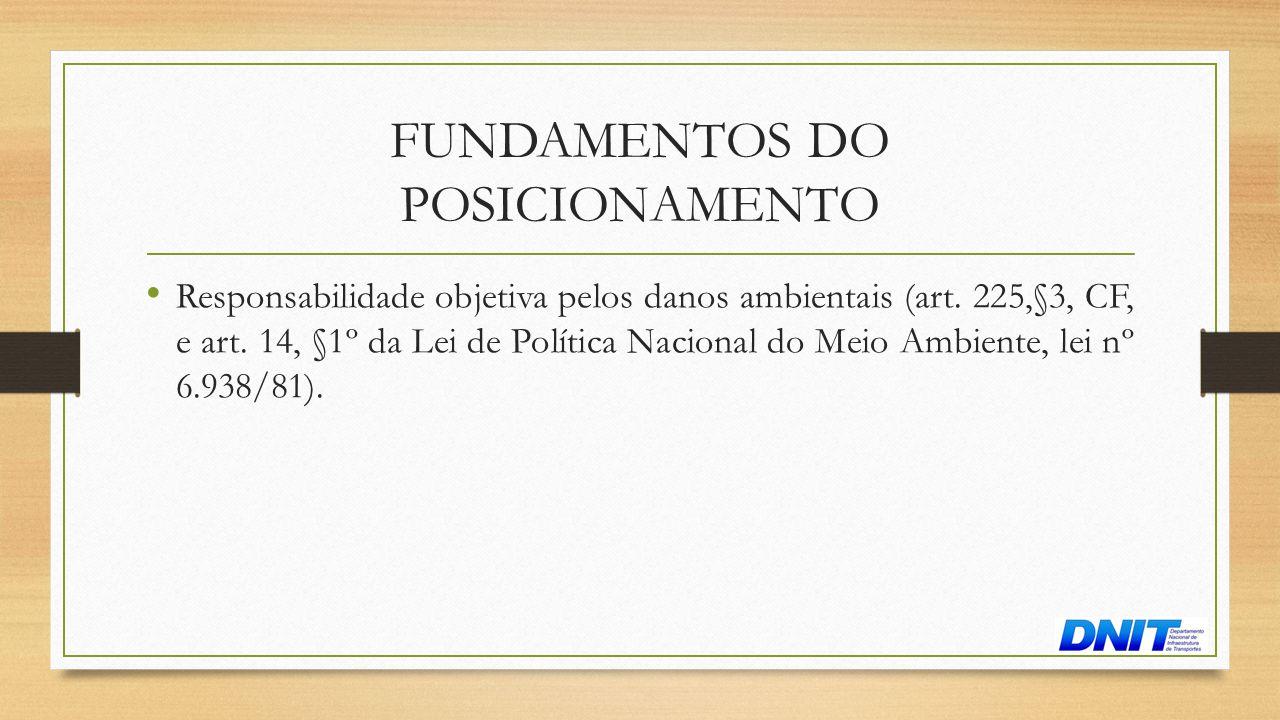FUNDAMENTOS DO POSICIONAMENTO • Responsabilidade objetiva pelos danos ambientais (art. 225,§3, CF, e art. 14, §1º da Lei de Política Nacional do Meio