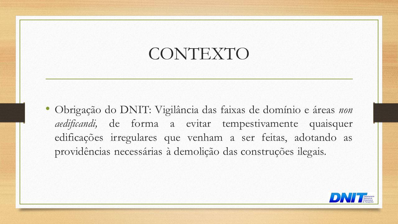 CONTEXTO • Obrigação do DNIT: Vigilância das faixas de domínio e áreas non aedificandi, de forma a evitar tempestivamente quaisquer edificações irregu