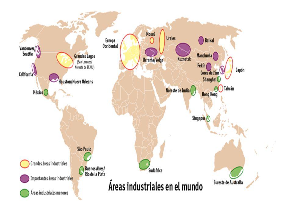 PRINCIPAIS ÁREAS INDUSTRIAIS -NA AMÉRICA DO NORTE •NE dos EUA (manufacturing belt) •Vale do silício (Costa Pacífica) e Golfo do México - (Sun Belt) -NA AMÉRICA DO SUL •SE do Brasil -NA EUROPA •Ocidental- Vale do Ruhr/Reno (Alemanha) •Oriental- Ex-socialistas (mão-de-obra barata) -NA ÁSIA •Japão •Índia •China- ZEE/ZPE •Tigres e Novos Tigres Asiáticos