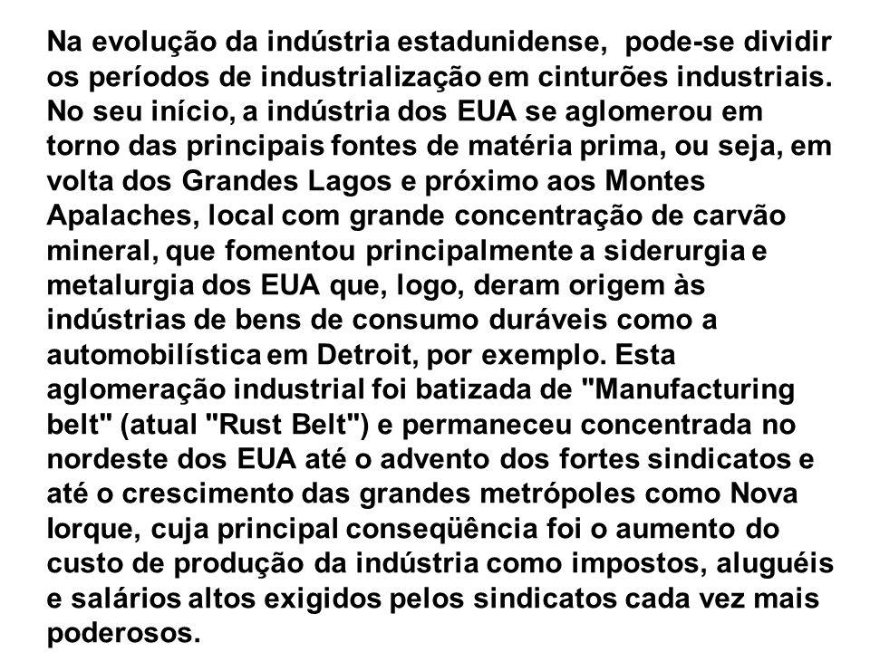 Na evolução da indústria estadunidense, pode-se dividir os períodos de industrialização em cinturões industriais. No seu início, a indústria dos EUA s