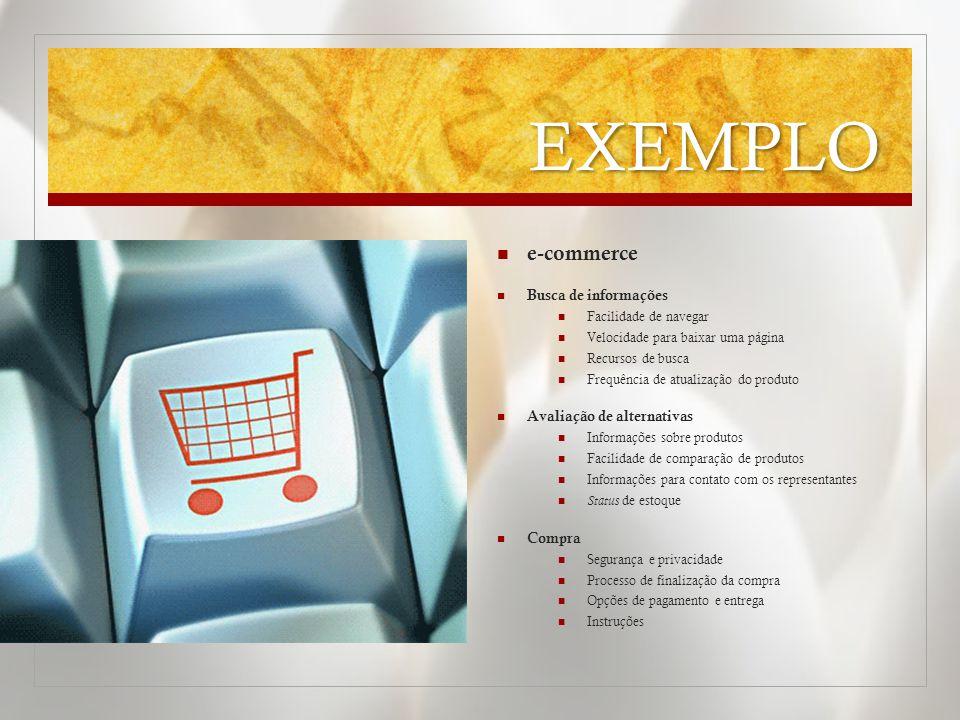 EXEMPLO  e-commerce  Busca de informações  Facilidade de navegar  Velocidade para baixar uma página  Recursos de busca  Frequência de atualizaçã