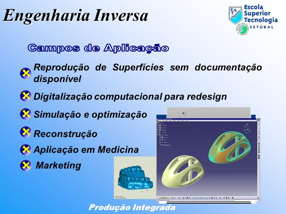 Engenharia Inversa Produção Integrada Digitalização computacional para redesign Simulação e optimização Reprodução de Superfícies sem documentação dis