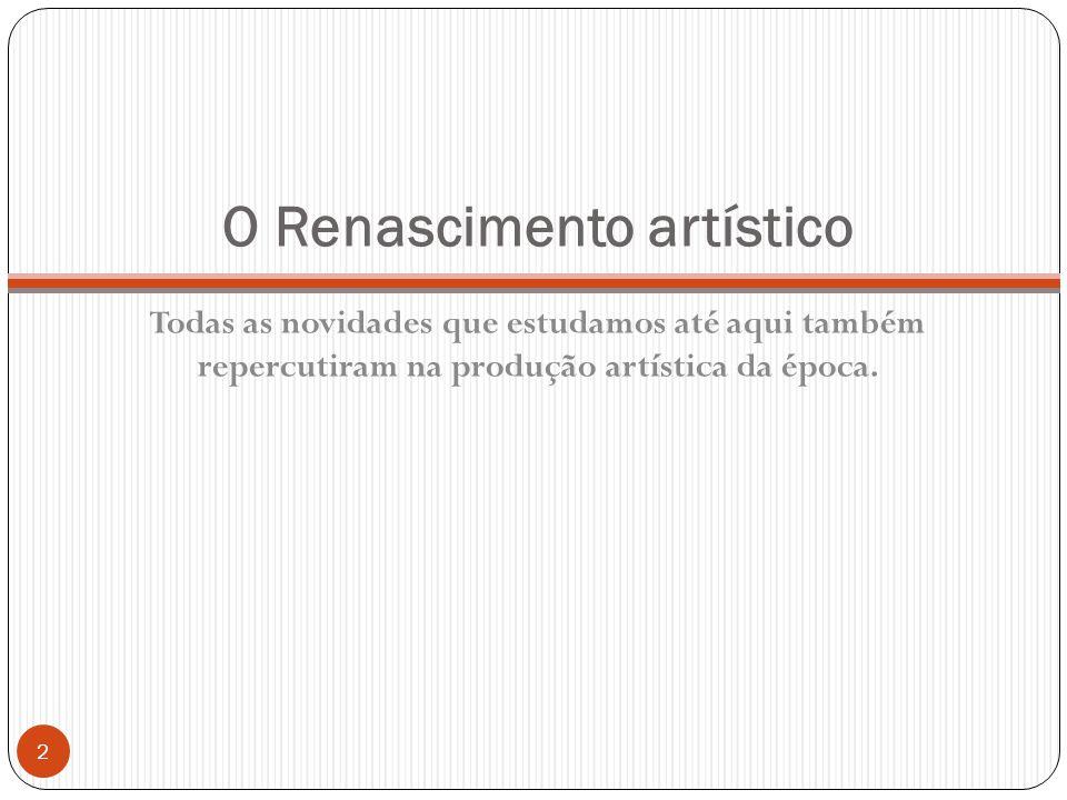 O Renascimento artístico Todas as novidades que estudamos até aqui também repercutiram na produção artística da época.