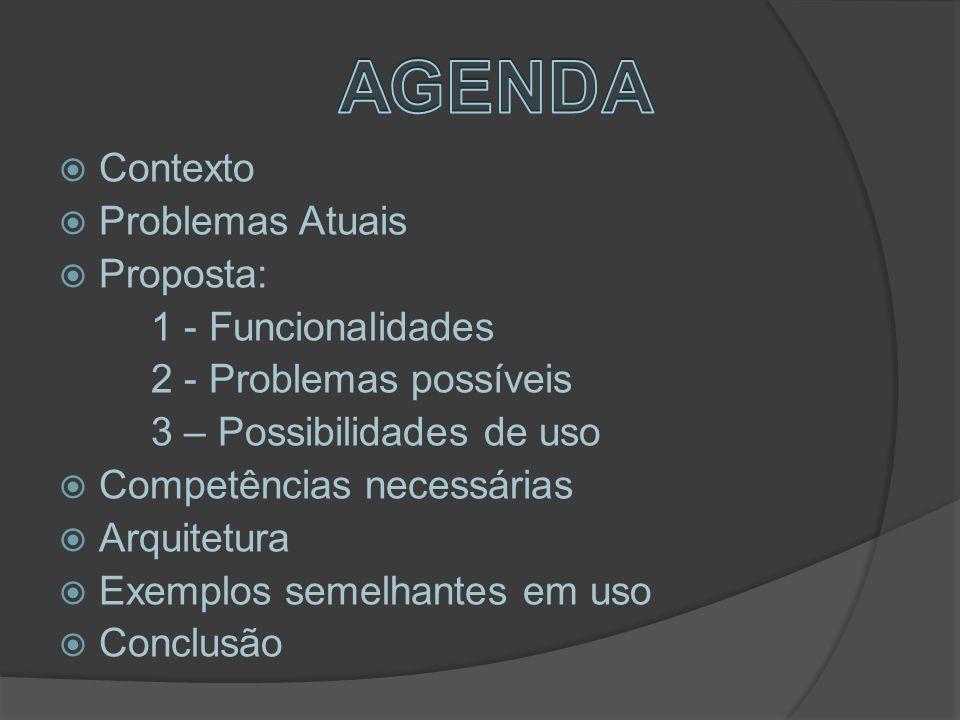  Contexto  Problemas Atuais  Proposta: 1 - Funcionalidades 2 - Problemas possíveis 3 – Possibilidades de uso  Competências necessárias  Arquitetura  Exemplos semelhantes em uso  Conclusão