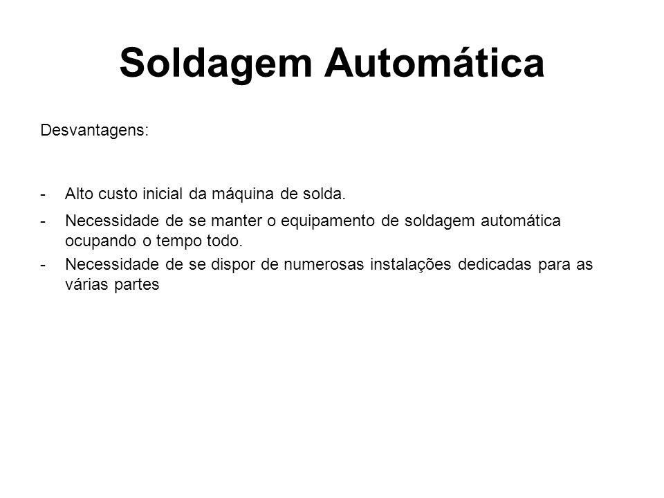 Soldagem Automática Desvantagens: -Alto custo inicial da máquina de solda. -Necessidade de se manter o equipamento de soldagem automática ocupando o t