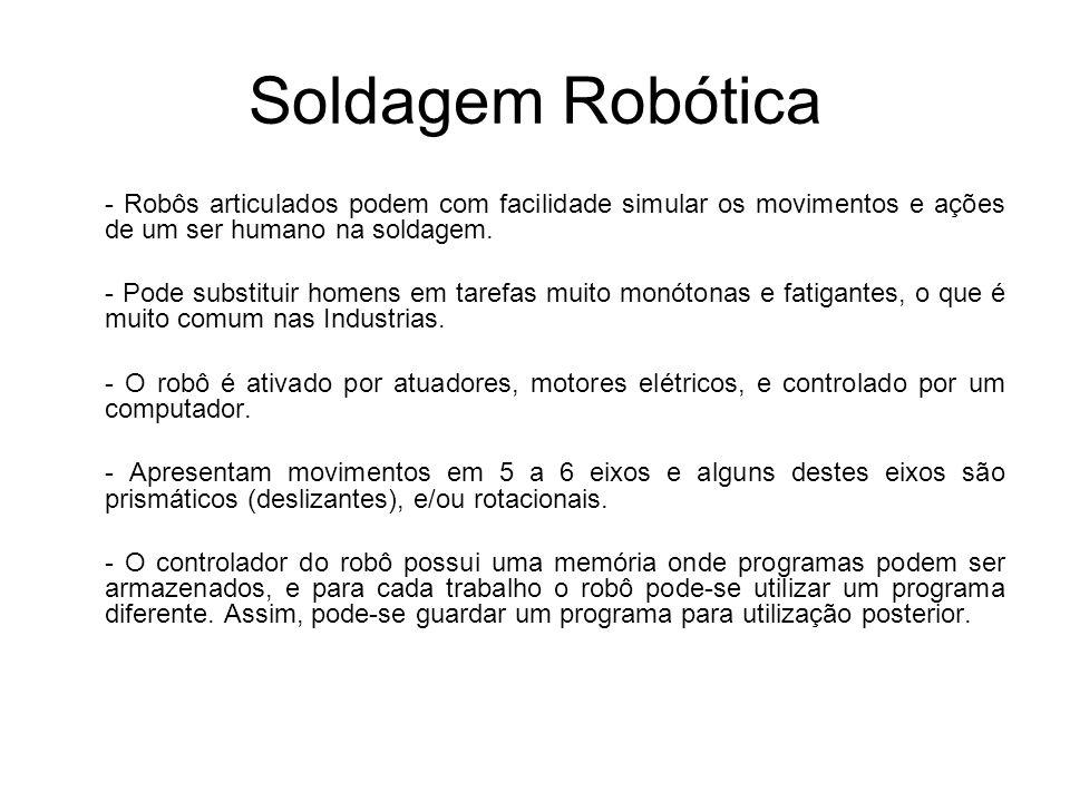 Soldagem Robótica - Robôs articulados podem com facilidade simular os movimentos e ações de um ser humano na soldagem. - Pode substituir homens em tar