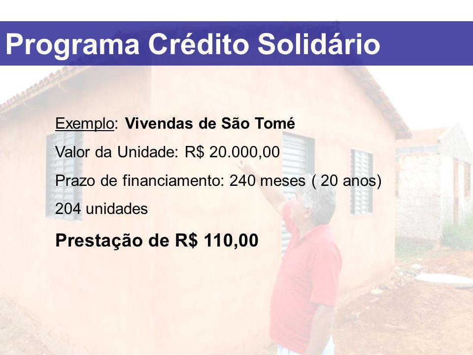 Exemplo: Vivendas de São Tomé Valor da Unidade: R$ 20.000,00 Prazo de financiamento: 240 meses ( 20 anos) 204 unidades Prestação de R$ 110,00 Programa