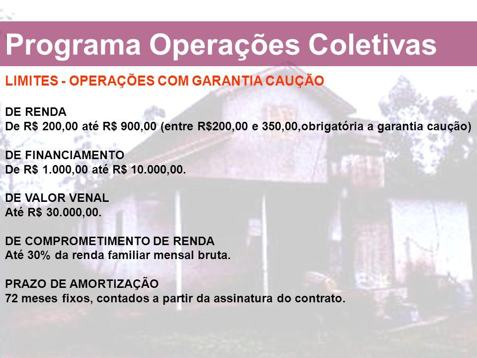 Programa Operações Coletivas LIMITES - OPERAÇÕES COM GARANTIA CAUÇÃO DE RENDA De R$ 200,00 até R$ 900,00 (entre R$200,00 e 350,00,obrigatória a garant