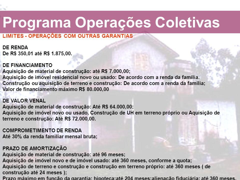 Programa Operações Coletivas LIMITES - OPERAÇÕES COM OUTRAS GARANTIAS DE RENDA De R$ 350,01 até R$ 1.875,00. DE FINANCIAMENTO Aquisição de material de