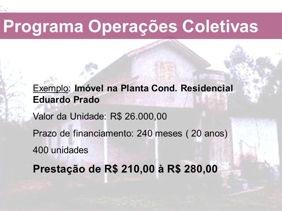 Exemplo: Imóvel na Planta Cond. Residencial Eduardo Prado Valor da Unidade: R$ 26.000,00 Prazo de financiamento: 240 meses ( 20 anos) 400 unidades Pre