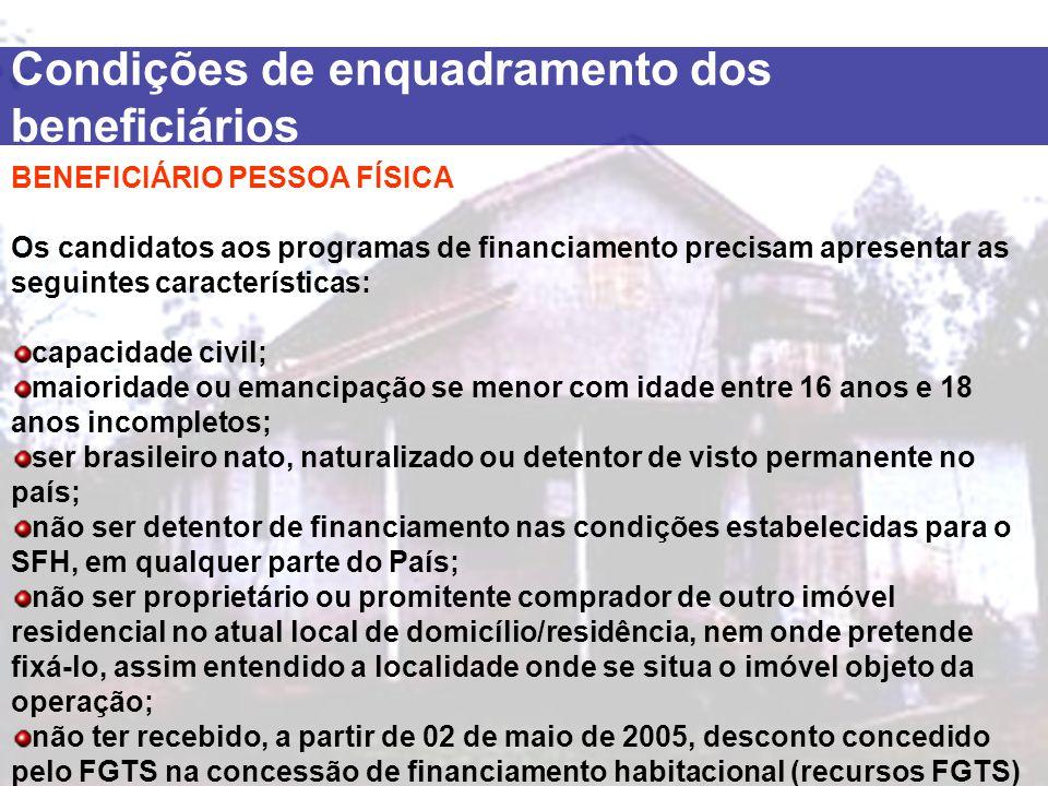 BENEFICIÁRIO PESSOA FÍSICA Os candidatos aos programas de financiamento precisam apresentar as seguintes características: capacidade civil; maioridade