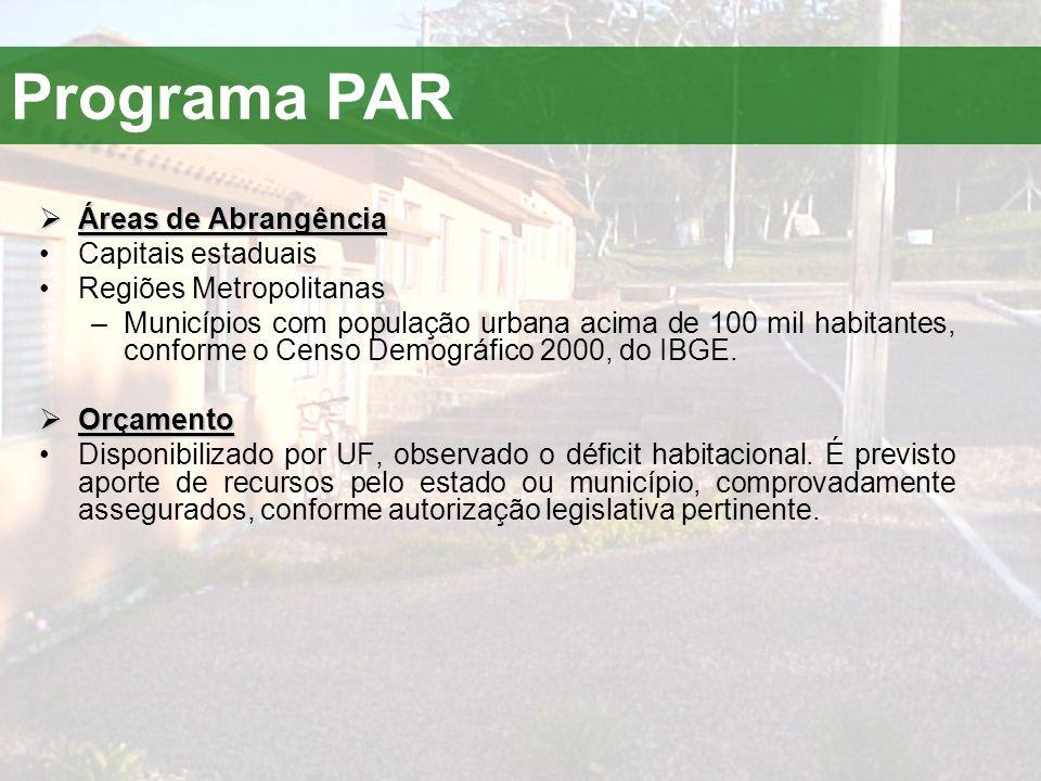 Programa PAR  Áreas de Abrangência •Capitais estaduais •Regiões Metropolitanas –Municípios com população urbana acima de 100 mil habitantes, conforme