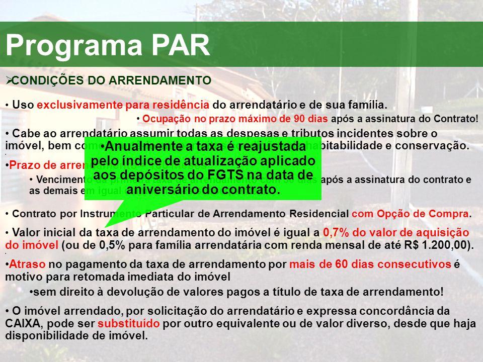 Programa PAR  CONDIÇÕES DO ARRENDAMENTO • Uso exclusivamente para residência do arrendatário e de sua família. • Ocupação no prazo máximo de 90 dias