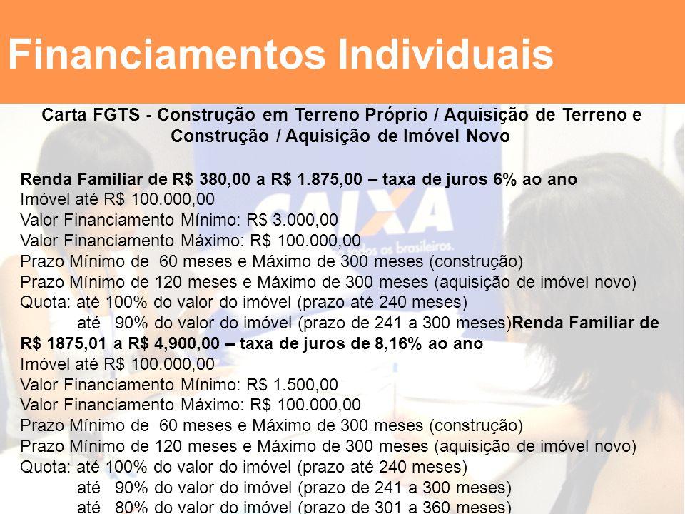 Financiamentos Individuais Carta FGTS - Construção em Terreno Próprio / Aquisição de Terreno e Construção / Aquisição de Imóvel Novo Renda Familiar de