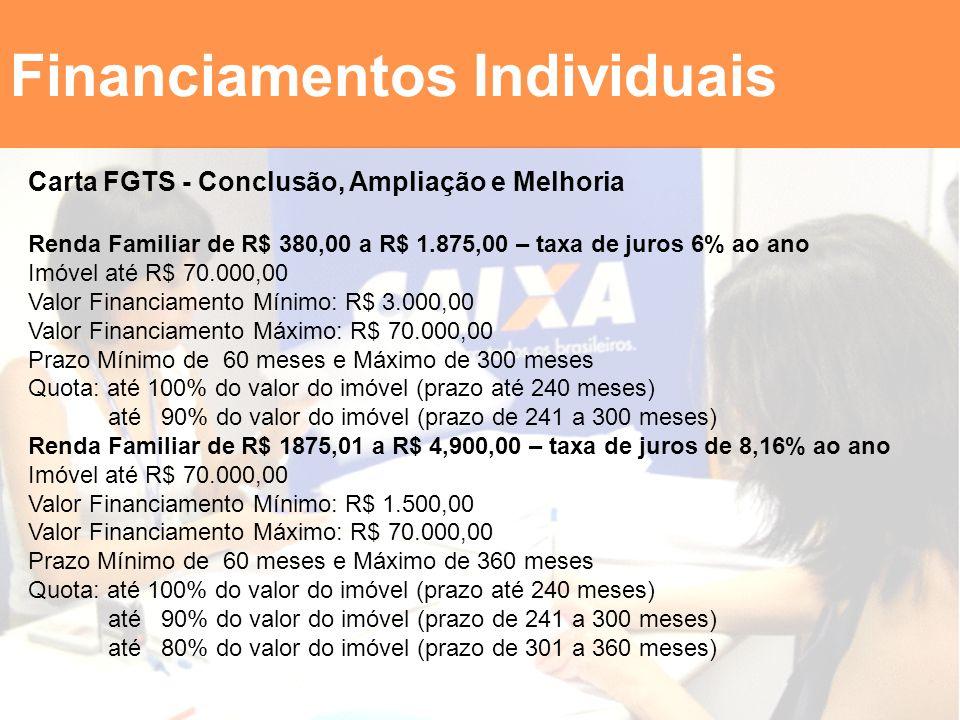 Financiamentos Individuais Carta FGTS - Conclusão, Ampliação e Melhoria Renda Familiar de R$ 380,00 a R$ 1.875,00 – taxa de juros 6% ao ano Imóvel até