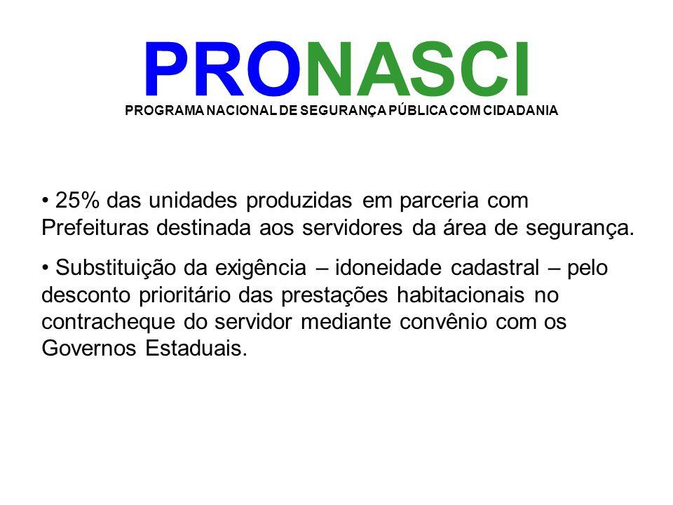 PRONASCI PROGRAMA NACIONAL DE SEGURANÇA PÚBLICA COM CIDADANIA • 25% das unidades produzidas em parceria com Prefeituras destinada aos servidores da ár