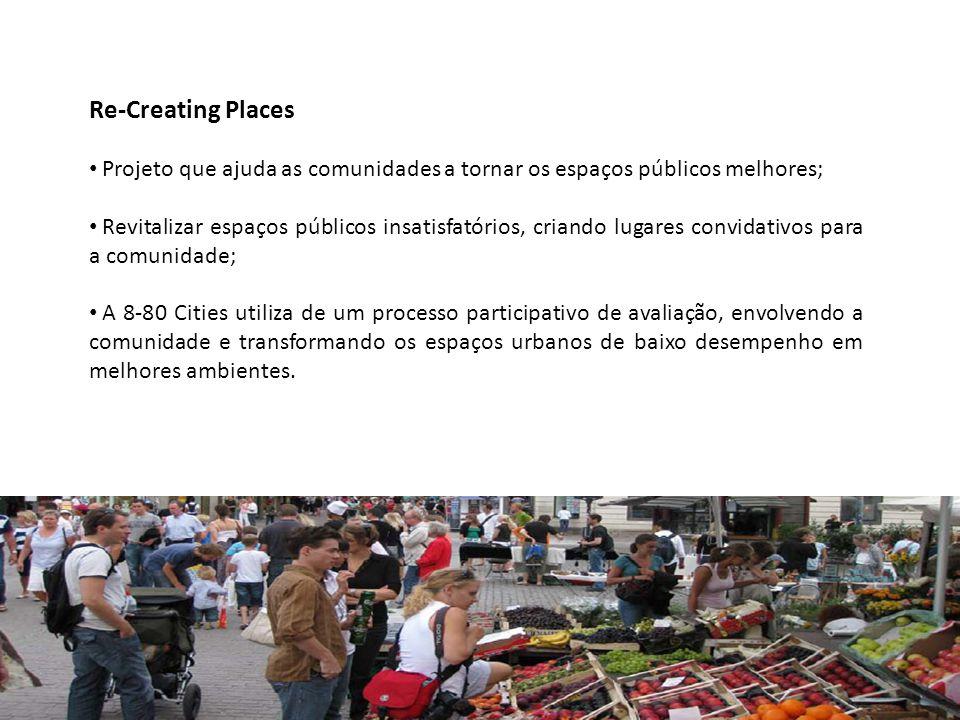 Re-Creating Places • Projeto que ajuda as comunidades a tornar os espaços públicos melhores; • Revitalizar espaços públicos insatisfatórios, criando l