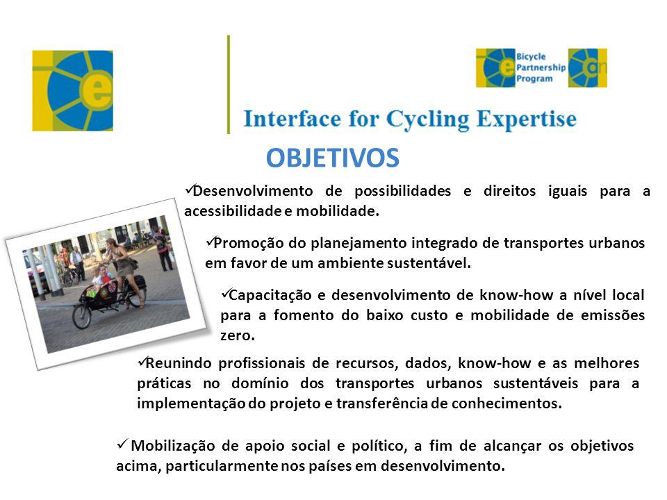 OBJETIVOS  Desenvolvimento de possibilidades e direitos iguais para a acessibilidade e mobilidade.  Promoção do planejamento integrado de transporte