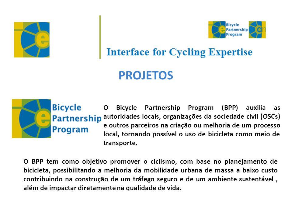 PROJETOS O Bicycle Partnership Program (BPP) auxilia as autoridades locais, organizações da sociedade civil (OSCs) e outros parceiros na criação ou me