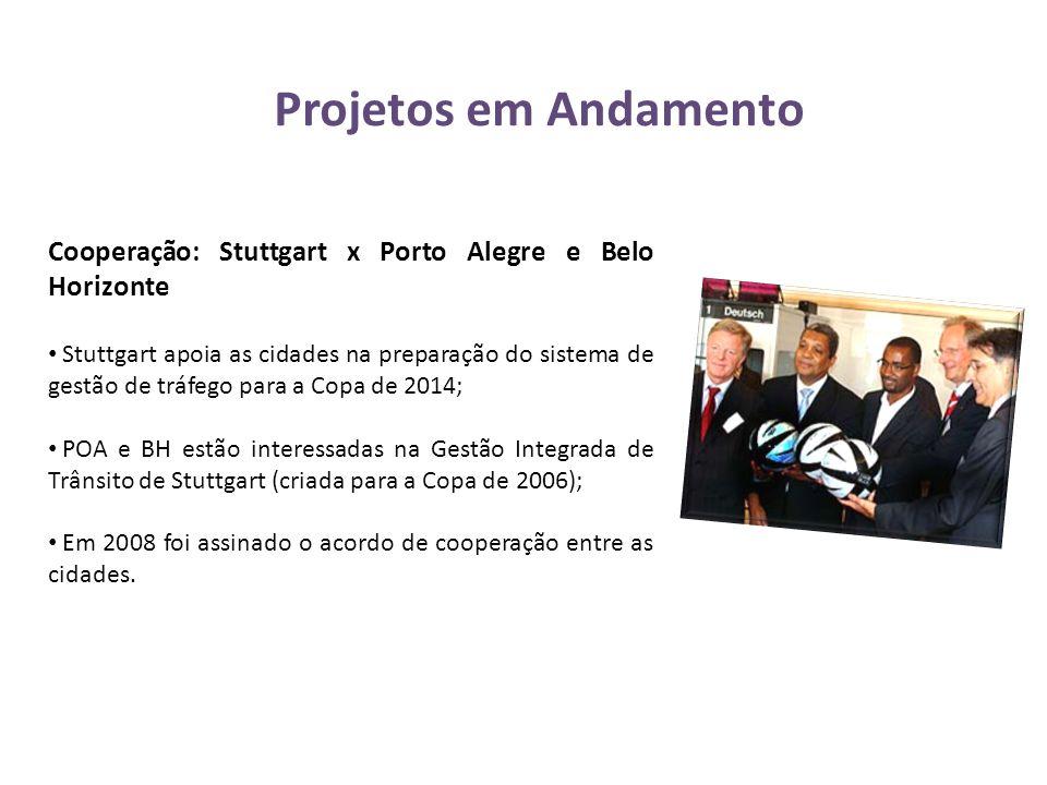 Projetos em Andamento Cooperação: Stuttgart x Porto Alegre e Belo Horizonte • Stuttgart apoia as cidades na preparação do sistema de gestão de tráfego
