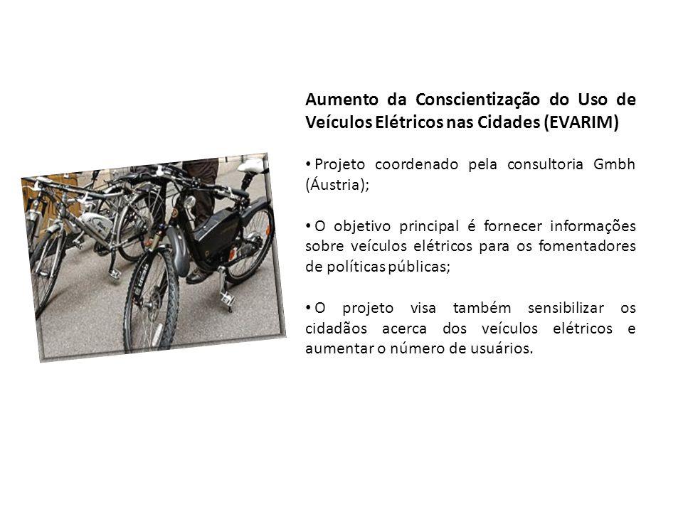 Aumento da Conscientização do Uso de Veículos Elétricos nas Cidades (EVARIM) • Projeto coordenado pela consultoria Gmbh (Áustria); • O objetivo princi