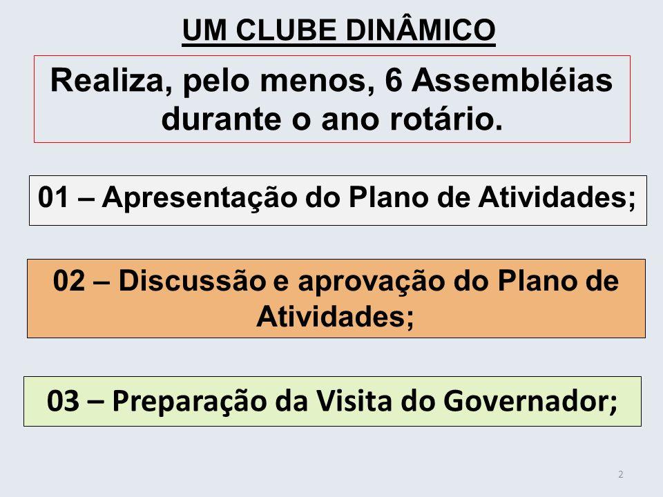 01 – Apresentação do Plano de Atividades; 2 UM CLUBE DINÂMICO Realiza, pelo menos, 6 Assembléias durante o ano rotário. 02 – Discussão e aprovação do