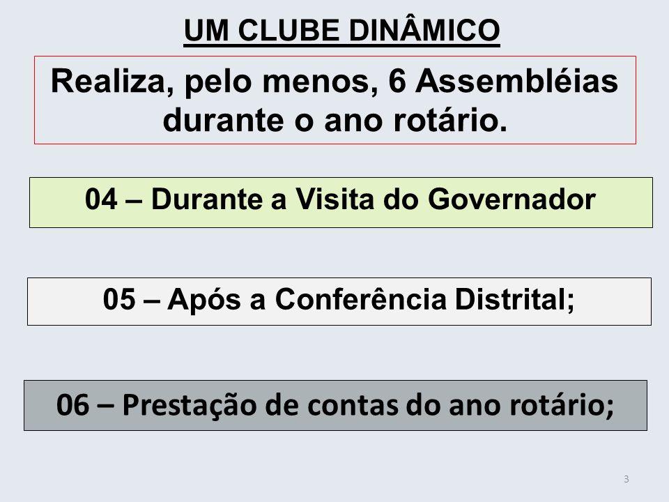 04 – Durante a Visita do Governador 3 UM CLUBE DINÂMICO Realiza, pelo menos, 6 Assembléias durante o ano rotário. 05 – Após a Conferência Distrital; 0