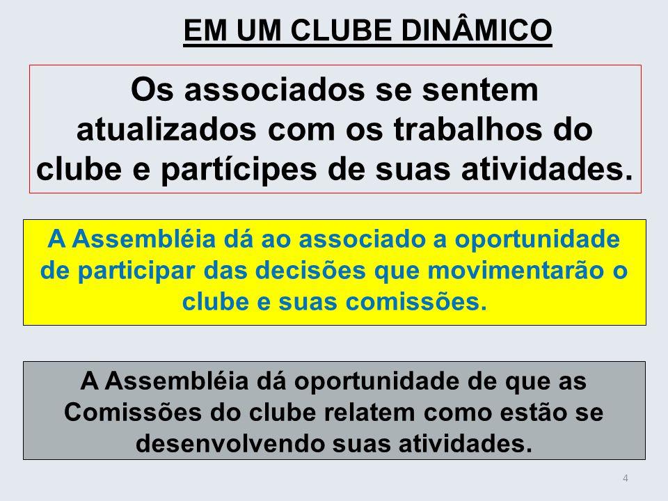 A Assembléia dá ao associado a oportunidade de participar das decisões que movimentarão o clube e suas comissões. 4 EM UM CLUBE DINÂMICO Os associados