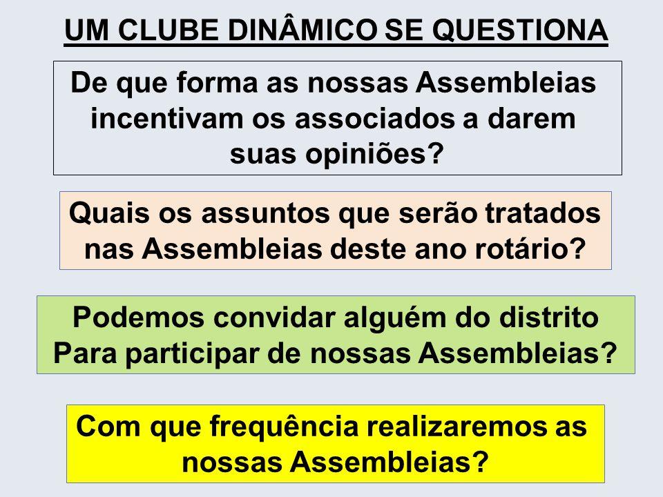 UM CLUBE DINÂMICO SE QUESTIONA De que forma as nossas Assembleias incentivam os associados a darem suas opiniões? Quais os assuntos que serão tratados